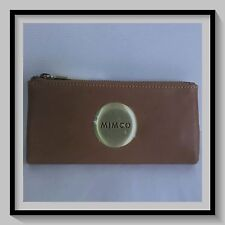 Mimco Leather MIM FOLD Wallet Clutch Purse RRP$179 Large Honey Metal Badge