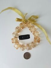 """Dress Barn Woman Cube Faceted Plastic Bead Champagne Stretch Jewelry NWT 7-8"""""""