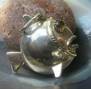 superschöner fisch anhänger silber 925 mit bernsteinaugen aus juweliersbestand