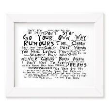 Fleetwood Mac Poster Print - Rumours - Lyrics Gift Signed Art