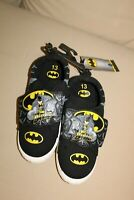 BOYS BATMAN BLACK & YELLOW SLIP ON SHOES WITH HOOKS & LOOPS SIZE 13