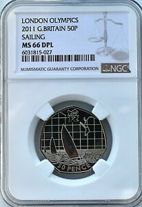 2011 Olympics Sailing 50p MS66 DPL NGC Britain