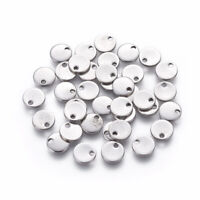 100 pcs Flat Round 304 Stainless Steel Stamping Blank Tag Charms Crafts 7x1mm