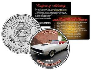1970 HEMI CUDA CONVERTIBLE Auction Muscle Car Colorized JFK Half Dollar US Coin