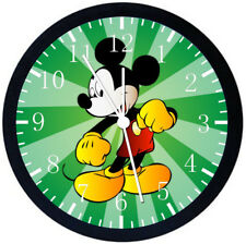 Disney Mickey Mouse Black Frame Wall Clock Nice For Decor or Gifts E103