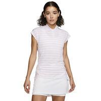 NIKE GOLF Womens Dry Fairway Striped Polo Shirt - White Pink - Size XL