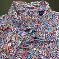 Mens Blue Orang Alan Flusser Paisley All over Print L/S Button Up Dress Shirt XL