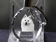 Japanese Spitz, Dog Crystal Round Keyring, High Quality, Crystal Animals Ca