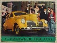 STUDEBAKER CAR RANGE USA Sales Brochure 1939 STATE SALOON Commander