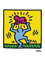 POP ART PRINT - KH09 by Keith Haring Dancing with Baby Over Head Poster 11x14
