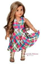 PLAID HALTER Girl DRESS clothes fits 18 inch American Doll