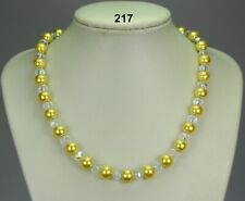 """Yellow glass pearl 10mm bead necklace, clear crystals, filigree caps 19""""+2"""