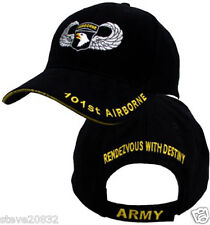 NEW United States Army 101st Airborne Jump Wings cap hat. Black. 5430.