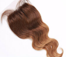 "Custom Full Lace Brazilian #4/27 Ombre Human Hair Closure 18"" w Silk Top 130%"