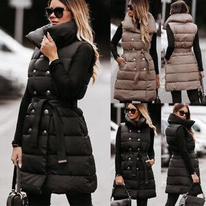Womens Padded Coat Quilted Gilet Vest Jacket Long Waistcoat Winter Warm Outwear