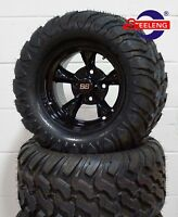 """GOLF CART 12"""" BLACK GODFATHER WHEELS and 22""""x11""""-12"""" AT/MT TIRES (4) EXCLUSIVE"""