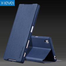 De Lujo Funda Libro con Tapa de piel sintética Base X-Level Par Sony Xperia X Z1