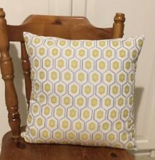 Bespoke Cushion Cover With Hexagonal Pattern Front In Chartreuse, GreyAnd Ivory