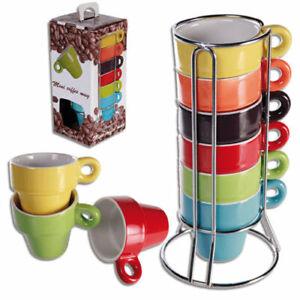 SET OF 6 COLOURED CERAMIC MINI ESPRESSO COFFEE MUG CUP WITH CHROME STAND