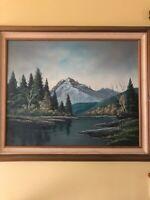 Vernon Wood Art Signed Oil Canvas large framed Landscape Bucks County Pa artist