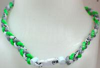"NEW 20"" Custom Clasp Braided Sports Neon Green Gray White Tornado Necklace"