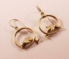 AUTHENTIC KABANA 14K YELLOW GOLD & SAPPHIRE DOLPHIN JUMP THROUGH HOOP EARRINGS
