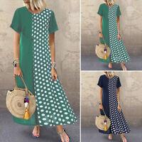 Women Short Sleeve Polka Dot Long Shirt Dress Round Neck Patchwork Maxi Dress