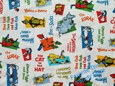 DR SEUSS CAT IN THE HAT white new cotton fabric. 43