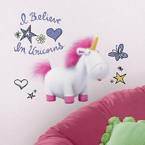 DESPICABLE ME 3 I BELIEVE IN UNICORNS WALL DECALS Agnes the Unicorn Stickers NEW