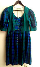 Damen Trachten Kleid Seide grün blau kariert Gr. 38