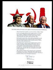 1992 Chairman Mao V.I. Lenin Maker's Mark Bourbon whisky CEO vintage print ad