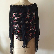 Gorgeous NEW Off-Shoulders RUFFLE Floral Textured Chiffon Blouse Size M