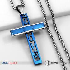 Unisex MEN Stainless Steel Blue Love Letter Cross Pendant Braid Link Necklace 1D
