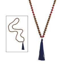 """34"""" Wooden and Orange Beaded Necklace w Blue Tassle"""
