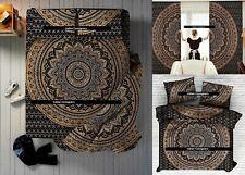 Indian Mandala Gold Black Bedroom Set Duvet Cover Bedding Curtains Pillow Case