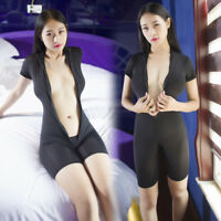 Women 2 Two way Zipper Teddy Playsuit  Jumpsuit Clubwear Babydoll Damenbody