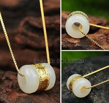 999 Gold Real Natural HeTian Jade Carved Pendant Chain Necklace + Certificate
