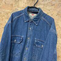 Mens Vintage Levi's Heavy Fleece Lined Trucker Denim Shirt Jacket Blue Medium M