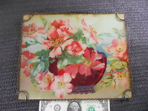 """Antique 8 x 10"""" FLUE COVER Chain Frame PINK FLOWER BLOSSOMS in RED VASE"""