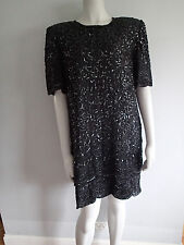 LAURENCE KAZAR coctail evening dress sequins,bling,beaded silk,sz  S BLACK