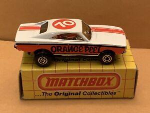 Vintage Matchbox Superfast No. 74 Orange Peel Dodge Charger With Boxes