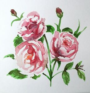 Original Watercolours Hand painted Card Roses Mother's Day Birthday signed AF