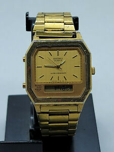 Vintage 1980's Men's Seiko Alarm Chronograph Watch H601-5389 Dual Display RUNN