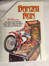 1988 WILLIAMS BANZAI RUN FACTORY ORIGINAL PINBALL FLYER