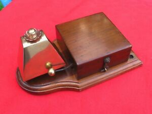 Original Working Late Victorian Brass & Wooden Cased Door Bell Servants Bell