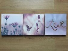* NEW MODERN SET 3 FLOWER LOVE BUTTERFLY pink lilac canvas wall art pictures