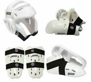Proforce Sparring Gear Set Head Foot Hand Shin Pads Protective Foam Guards White