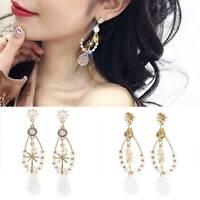 Fashion Long Tassel Crystal Earrings Womens Geometric Drop Dangle Stud Jewelry B