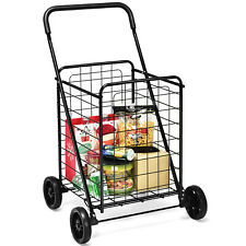 Ironmax Folding Shopping Cart Utility Grocery Travel Trolley Portable Black