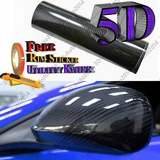5ft X10ft Black 5D HIGH GLOS Carbon Fiber Vinyl Air Release Pockets Bubble Free
